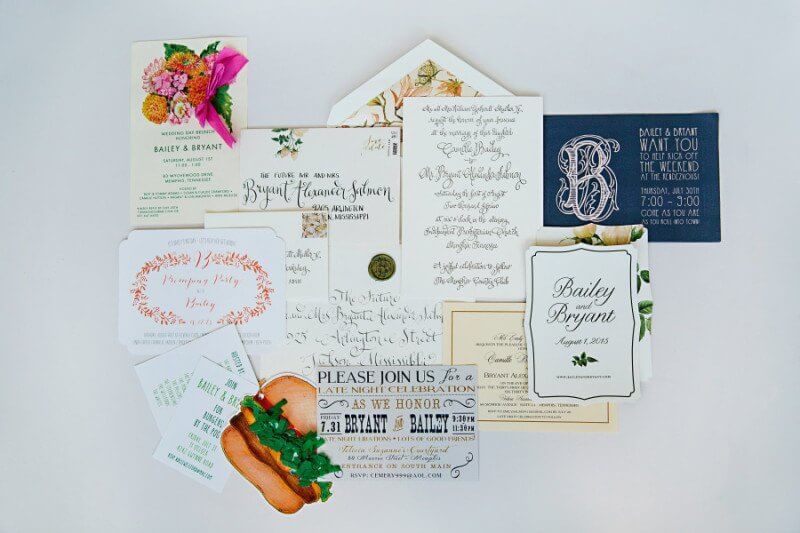A collage of wedding event invitations.