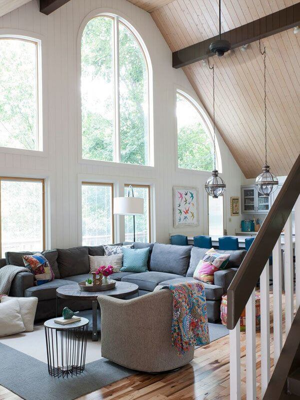A Lake Lanier, wheelchair accessible home. The outside comes in with these gorgeously large windows looking out to Lake Lanier. Interior designer: Beth Johnson