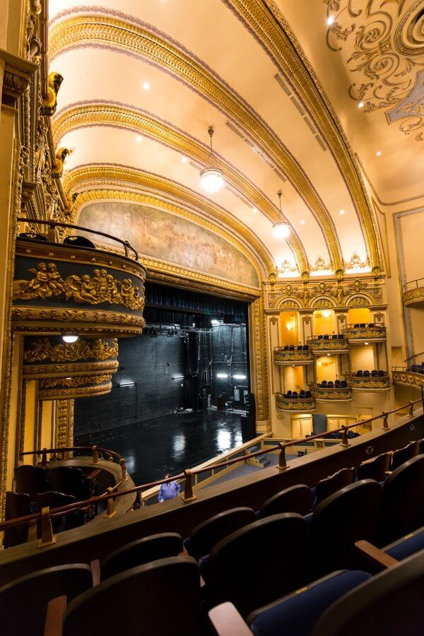The gleaming proscenium arch of the Lyric Theatre