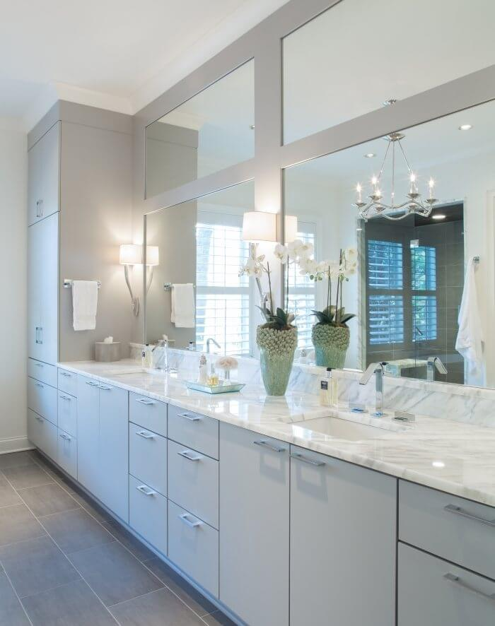 Serene master bath with marble
