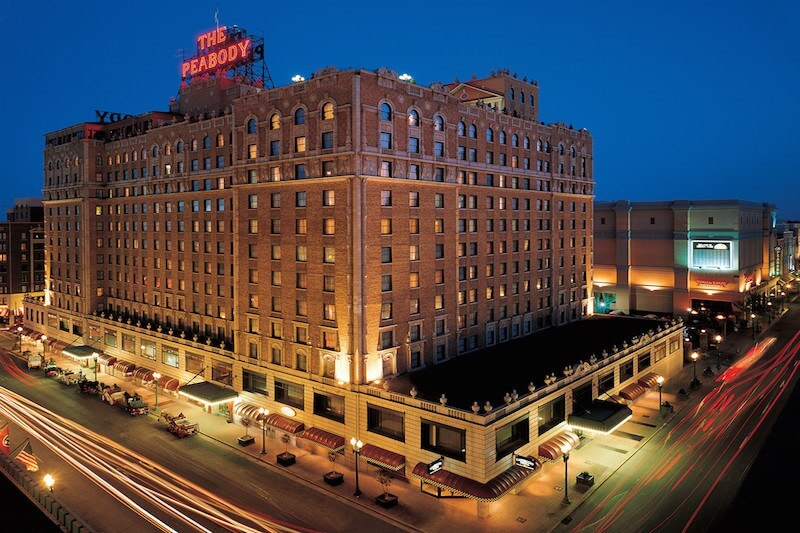 The glowing sign atop The Peabody is hard to miss.