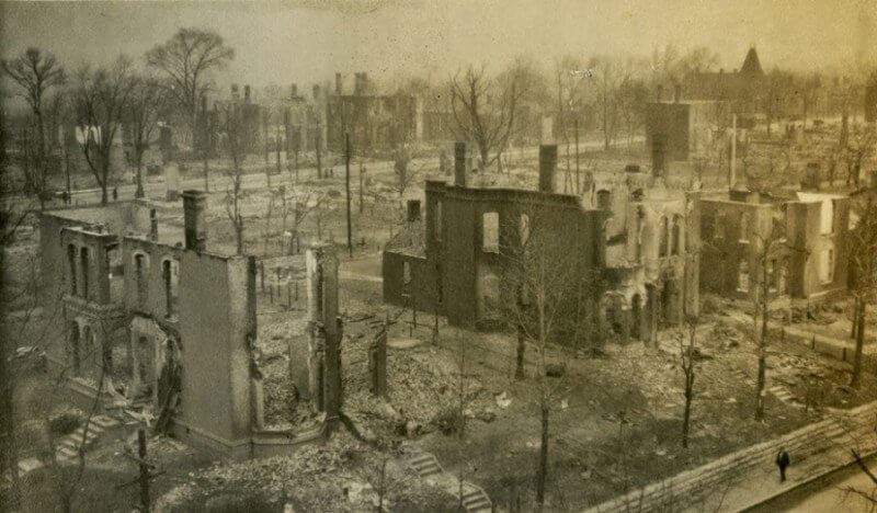 The ruins after the great fire of east nashville 1916