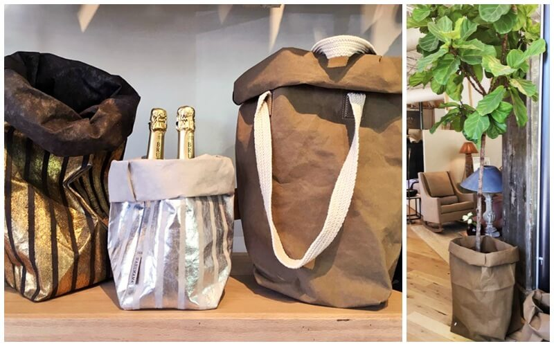 UASHMAMA washable paper bags, ranging from $46 to $108, at Patina