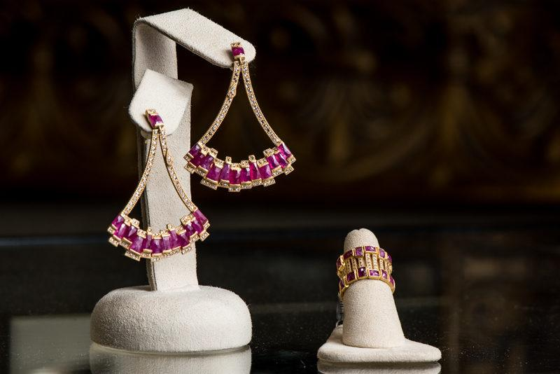 Stunning drop earrings and matching ring