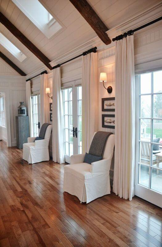 Long drapes are a great way to add drama to French doors
