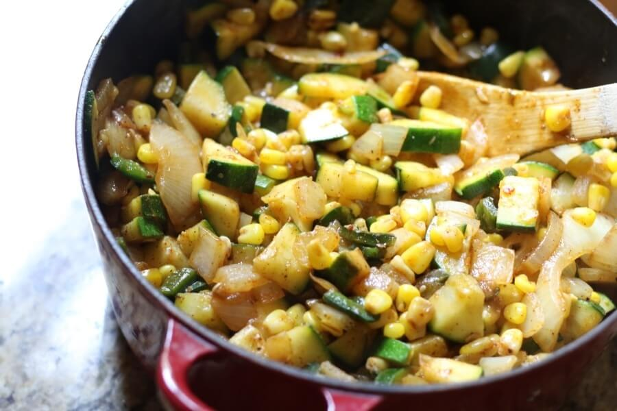 Zucchini, corn, onion and Poblano peppers make the tastiest side!