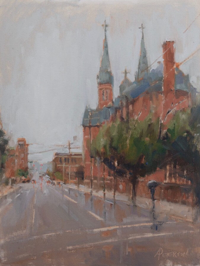 "Amy's painting ""Summer Rain, St. Paul's Cathedral, Birmingham"" (oil, 16 x 12) was recently accepted into the Oil Painters of America 2016 Juried Salon Exhibition, hosted this year by Castle Gallery Fine Art in Fort Wayne, IN. Last year's salon show was held right here in Birmingham at the Beverly McNeil Gallery in Lakeview, attracting international attention and prestige, along with well-respected artists and collectors."