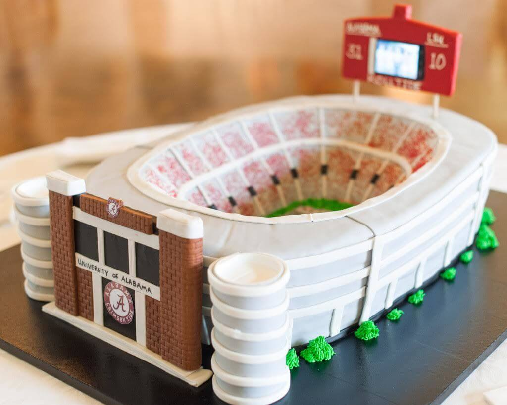 This one-of-a-kind cake is a replica of Bryant-Denny Stadium! Image: Spindle Photography | Cake: Barb's Cakes