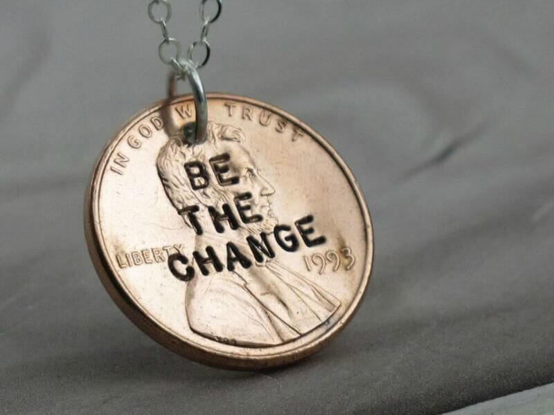 We are crazy about this stamped necklace by Kathryn Riechart!