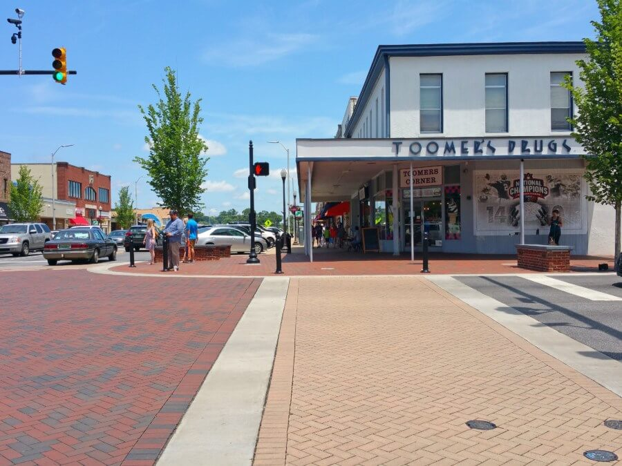 Iconic Toomer's Corner has played host to many street celebrations of Auburn victories.