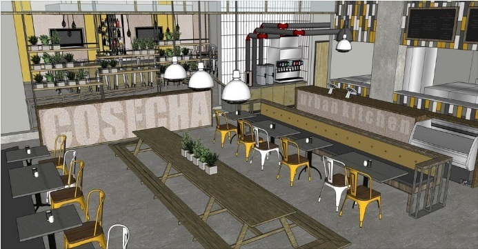 A rendering of the new Cosecha Urban Kitchen | Image: Stidco Construction