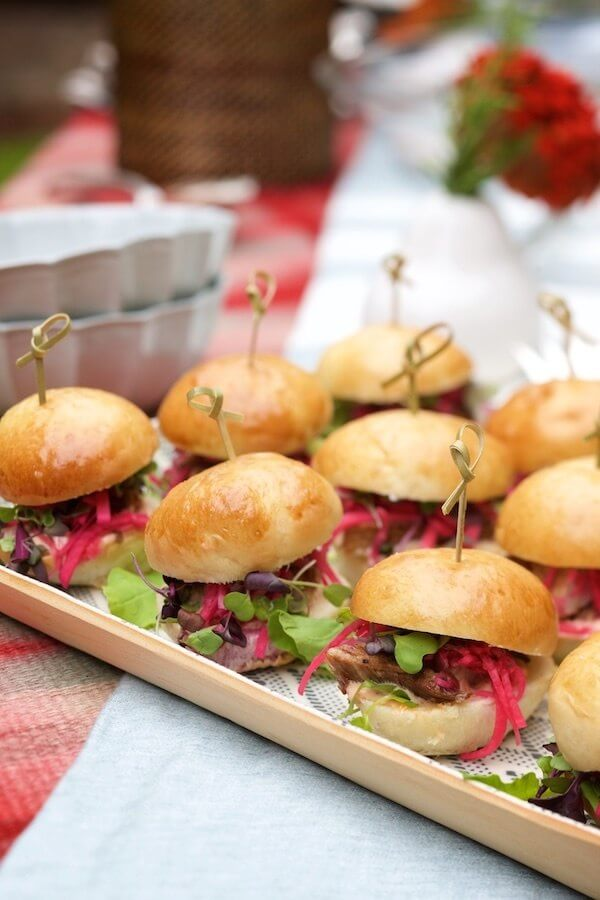 George's pork belly sliders with purple daikon slaw and chile mayonnaise are dangerously delicious.