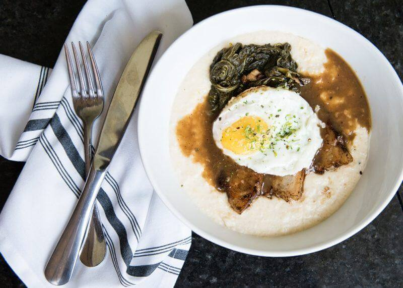 Pork belly & grits, with red-eye gravy and braised turnip greens
