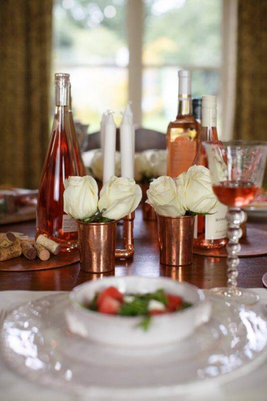 No need for vases. Use vintage copper cups for understated elegance.