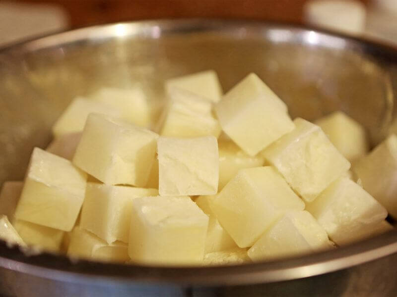 Cubes of frozen goat's milk are part of the saponification process.