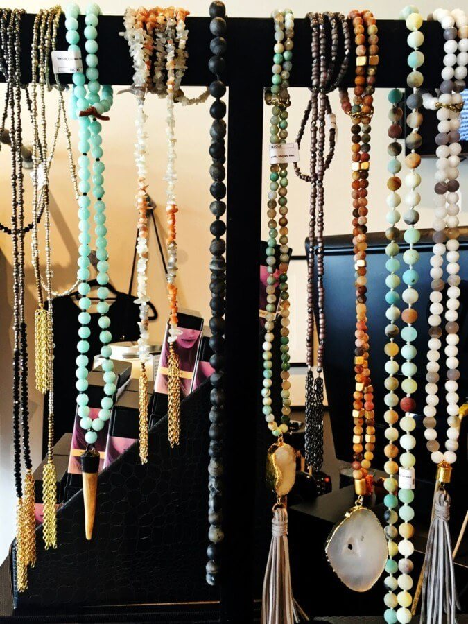 These eclectic necklaces offer a touch of bohemian cool to any look.
