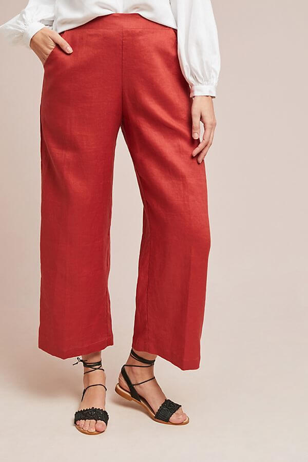 Here is an easier way to wear brightly colored wide-leg pants. This orange-red shade is fabulous for spring and summer and this slightly wide, slightly cropped style is a more conservative vibrant option. These are $98. Details here. Image: Anthropologie