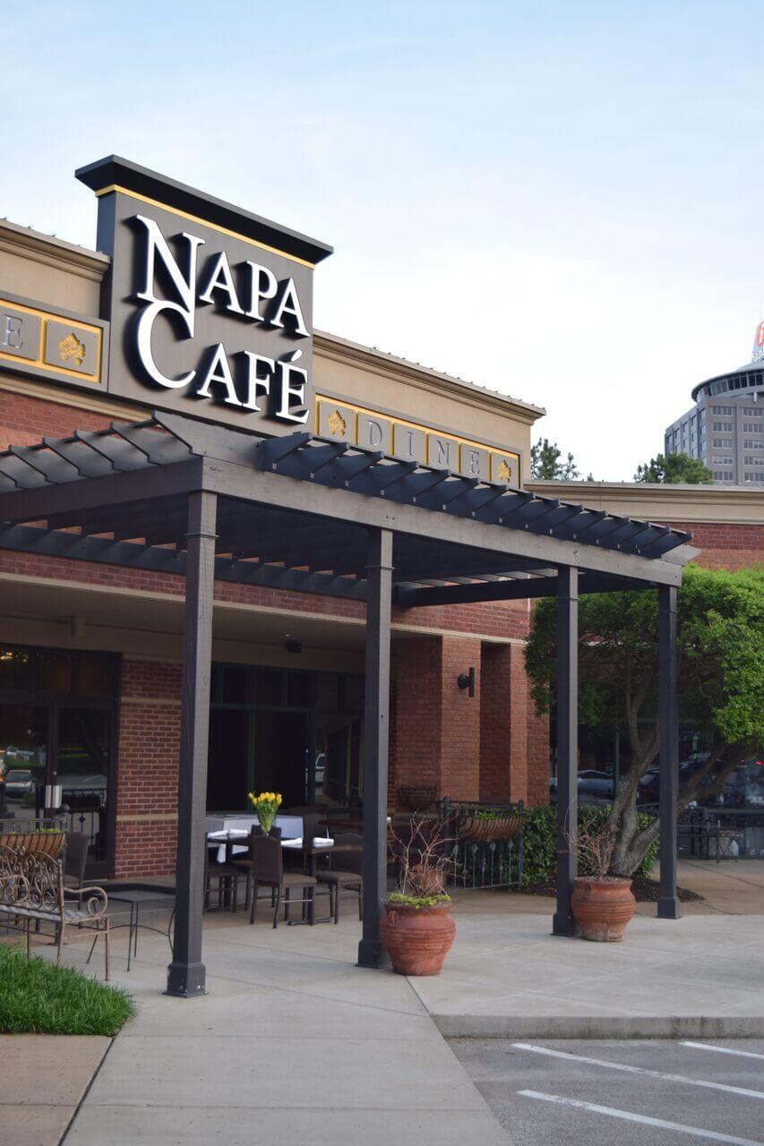 The front porch at Napa Café is the perfect spot for a romantic dinner for two or a night out with your girlfriends.