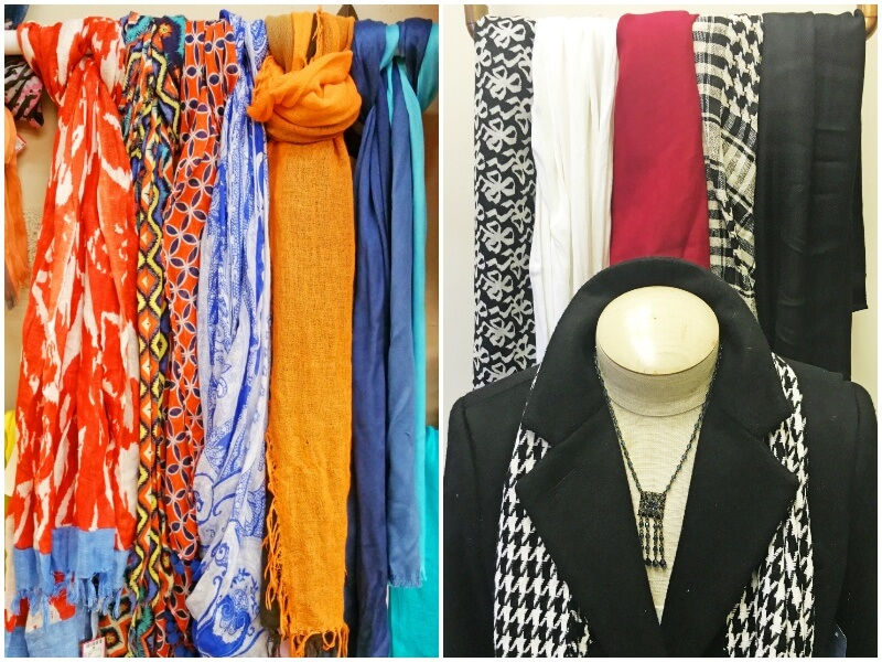 Scarves in a variety of styles and colors, ranging from $14 to $28, at Second Hand Rose