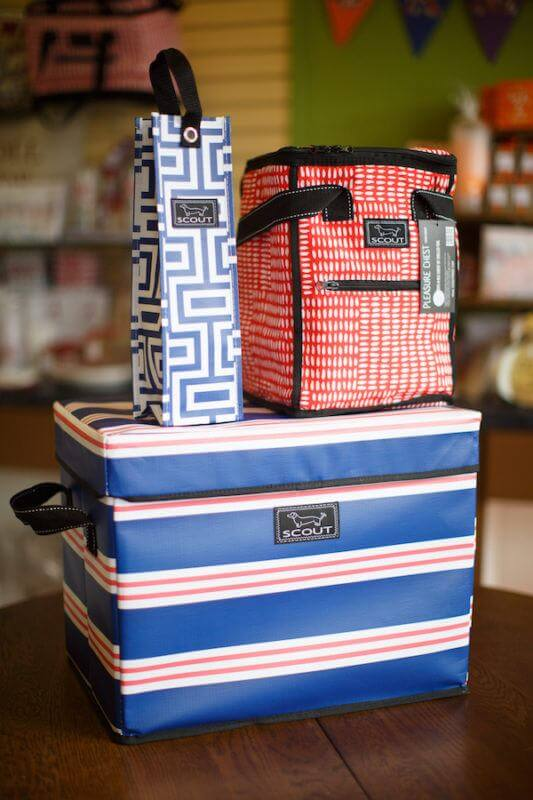Scout bags: Insulated Pleasure Chest, $27.95; Spirit Lift-tah bottle carrier, $7.95 and medium Rump Roost, $52.95 from RSVP Stationers.