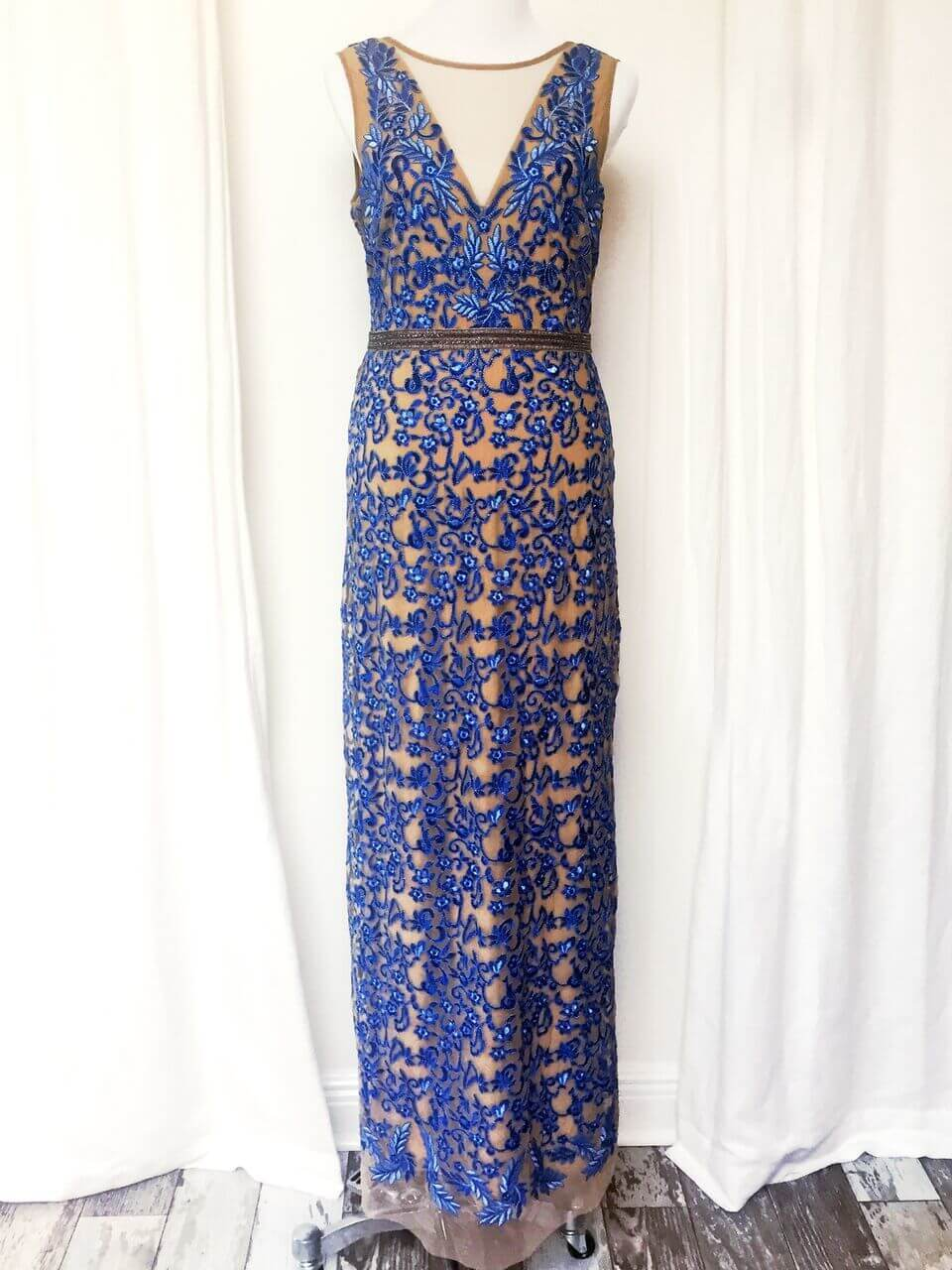 From The Clothes Tree by Deborah: Nicole Miller Blue & Mesh Gown, $495.