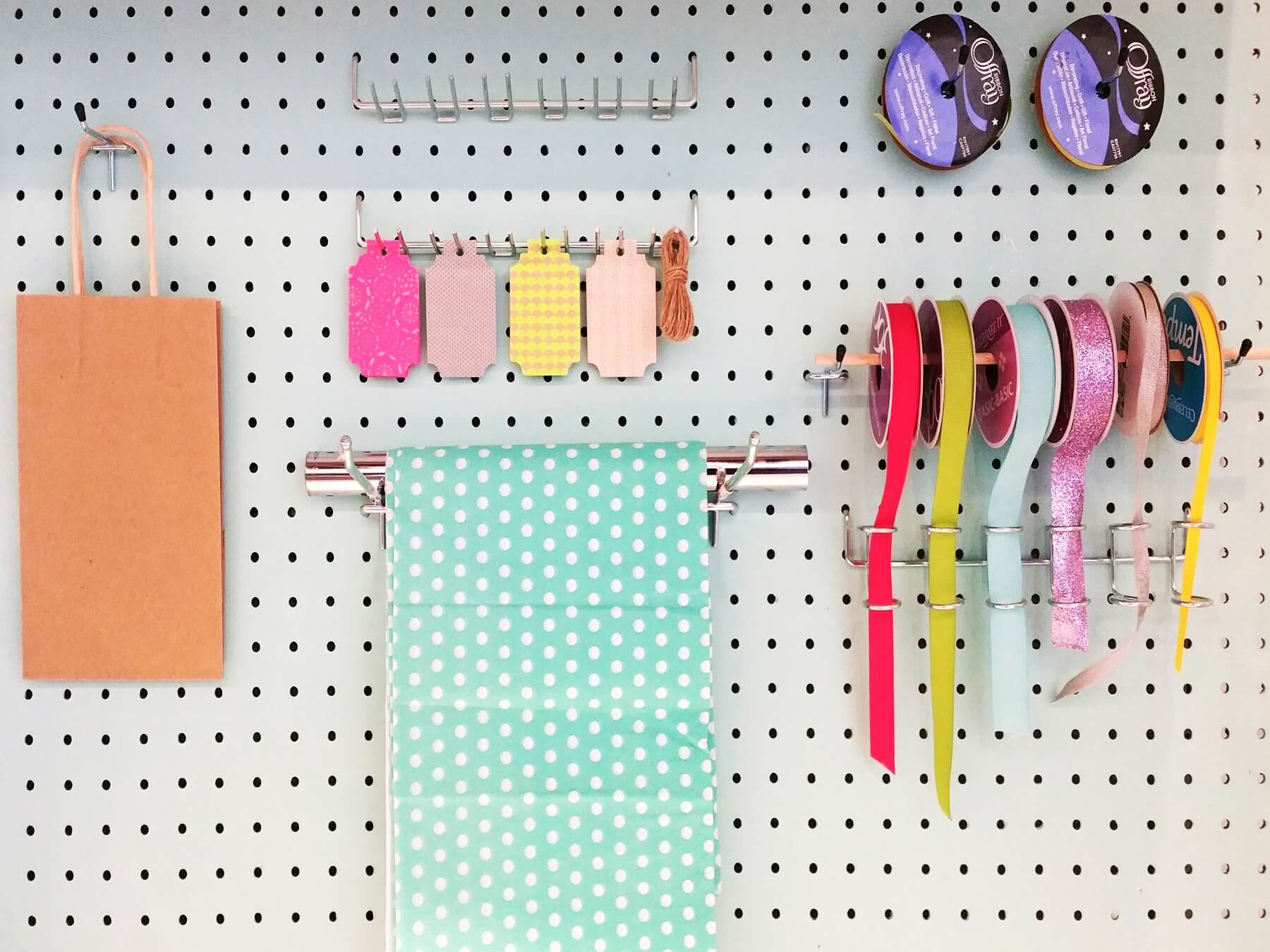 Peg board organization can be customized to meet your needs.