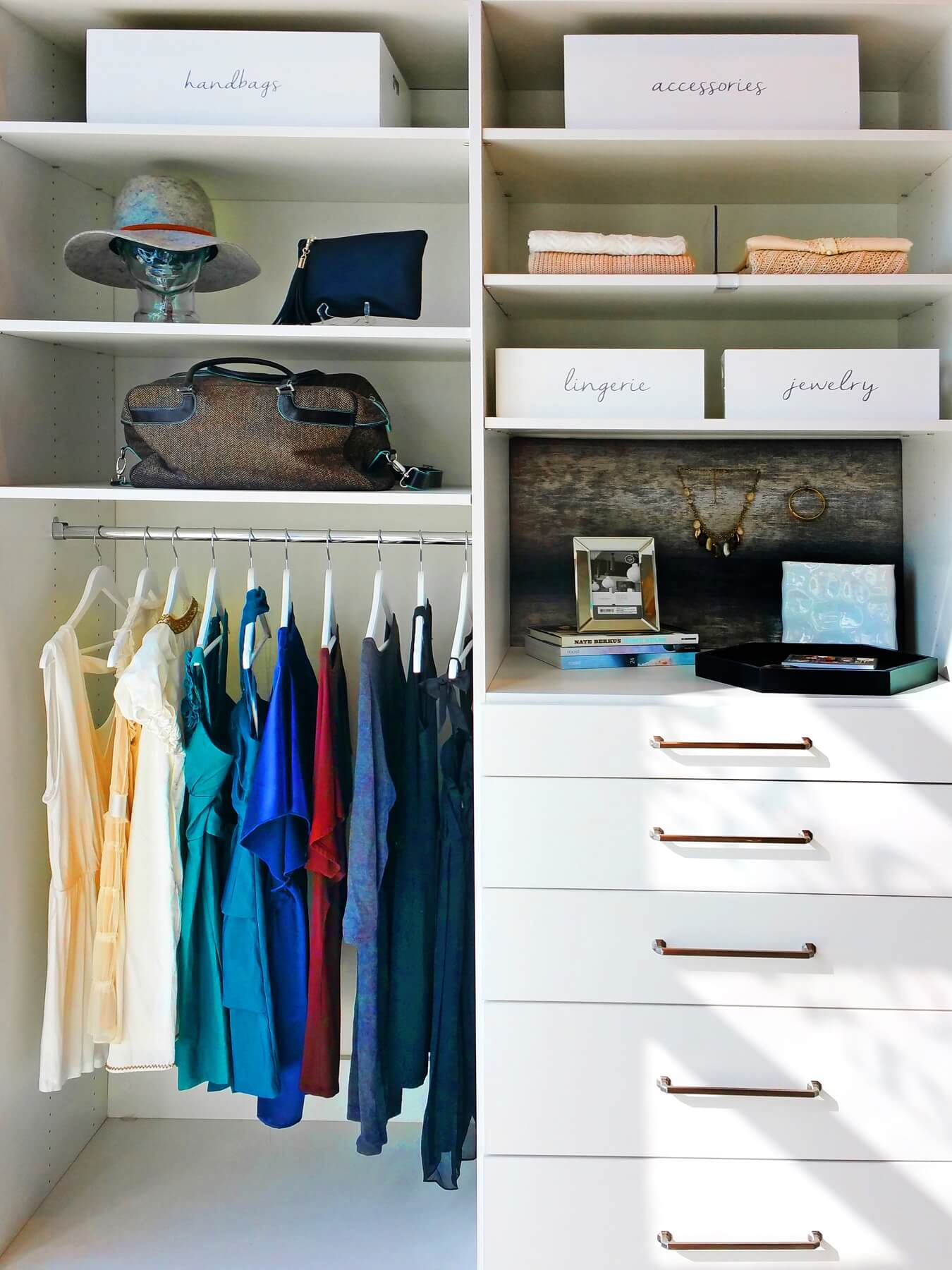 Creative ways to store hats and jewelry add style — and a bit of fun — to your closet space.