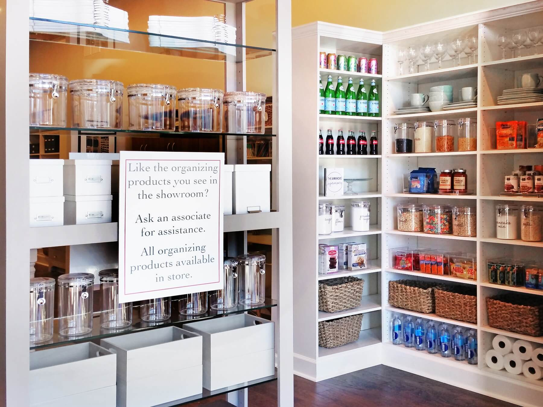 All of the organizing products from each vignette are available to purchase at The Amandas showroom.