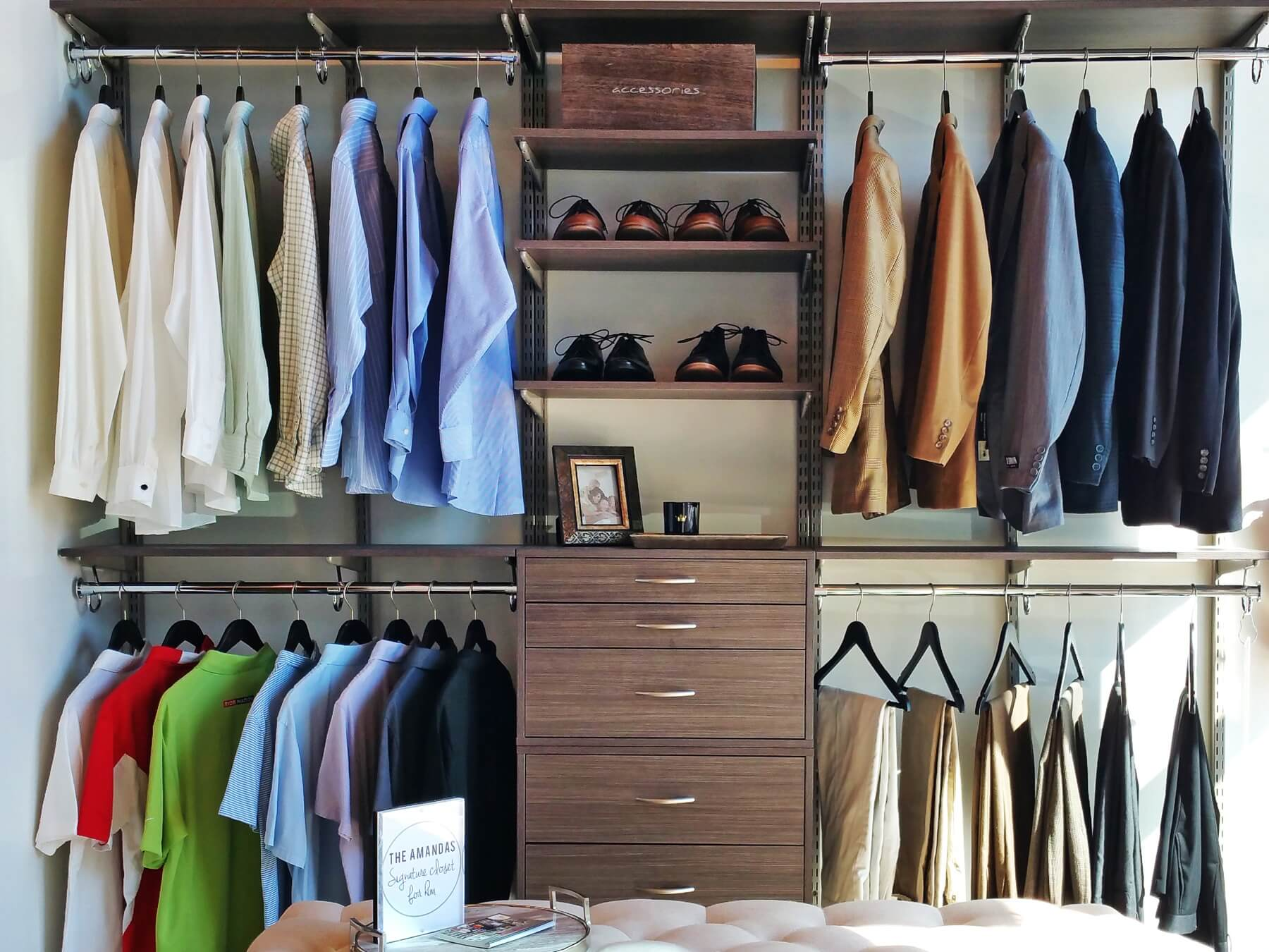 This dapper closet for him is a dream!