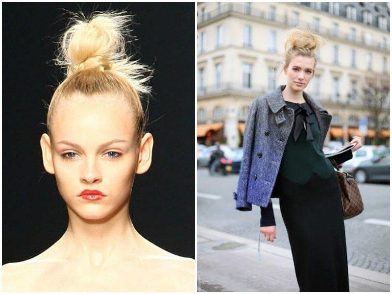The top knot at left is tight and even looks like a knot for a sleek, modern look. And the top knot at right is more like a tousled voluminous bun for a classic chic look. Images: Makeup Geek (left) and Man Repeller (right)