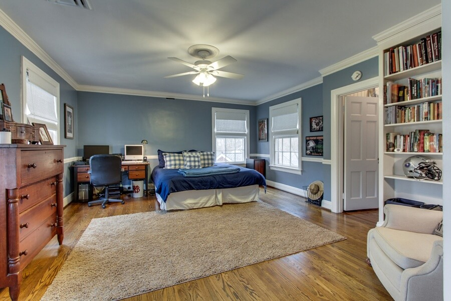 Natural light and beautiful built-ins make this a fantastic bedroom!
