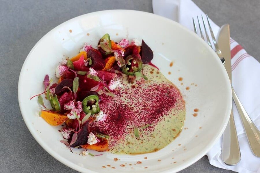 Not only is Amara's beet salad delicious, it's gorgeous as well. The lovely starter features chevre and coriander crème fraiche. Image: Amara