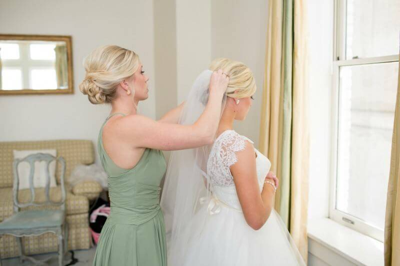 A little help from the bridesmaids allowed this look to come together.