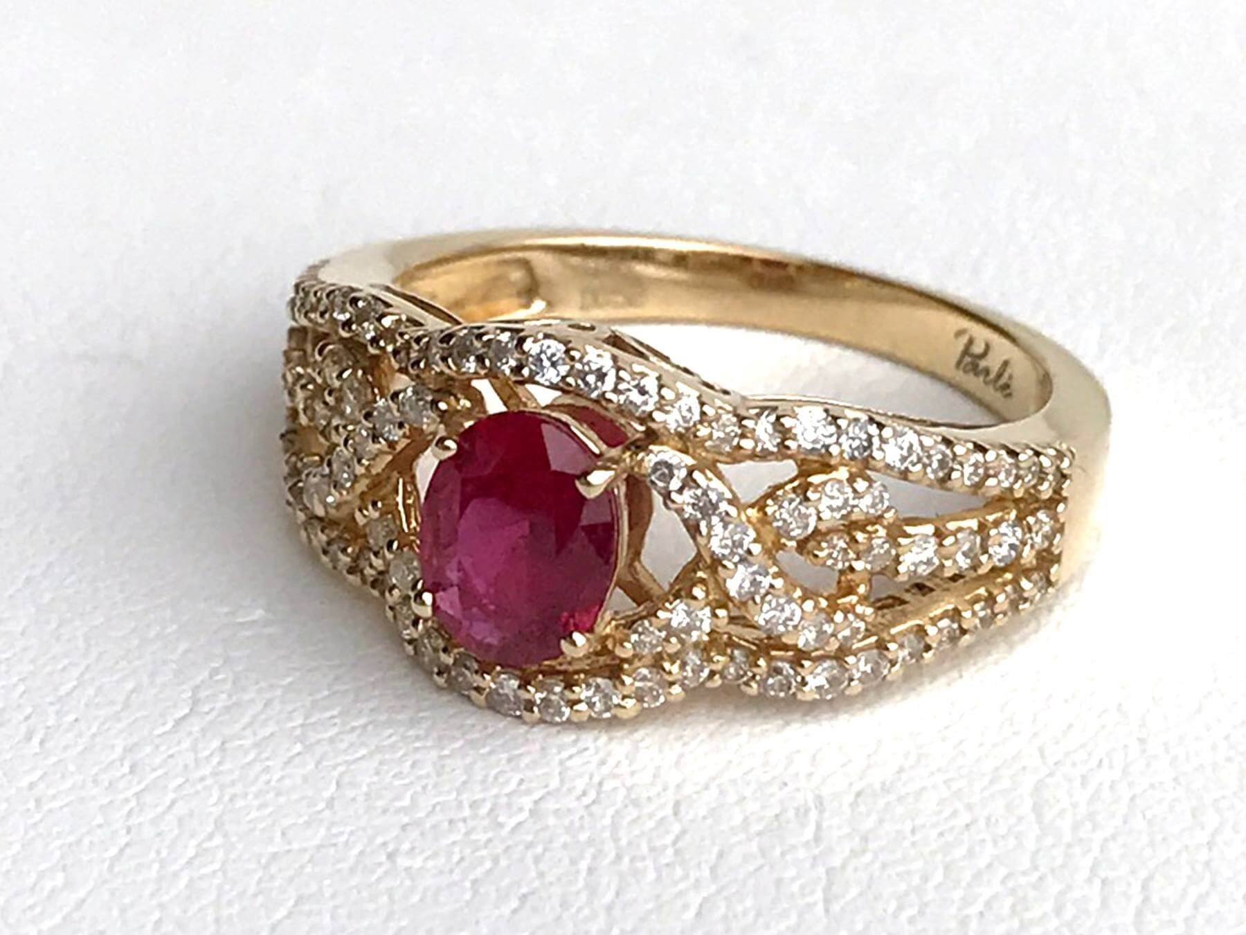 .82 carat ruby ring with accent diamonds from Clater Jewelers