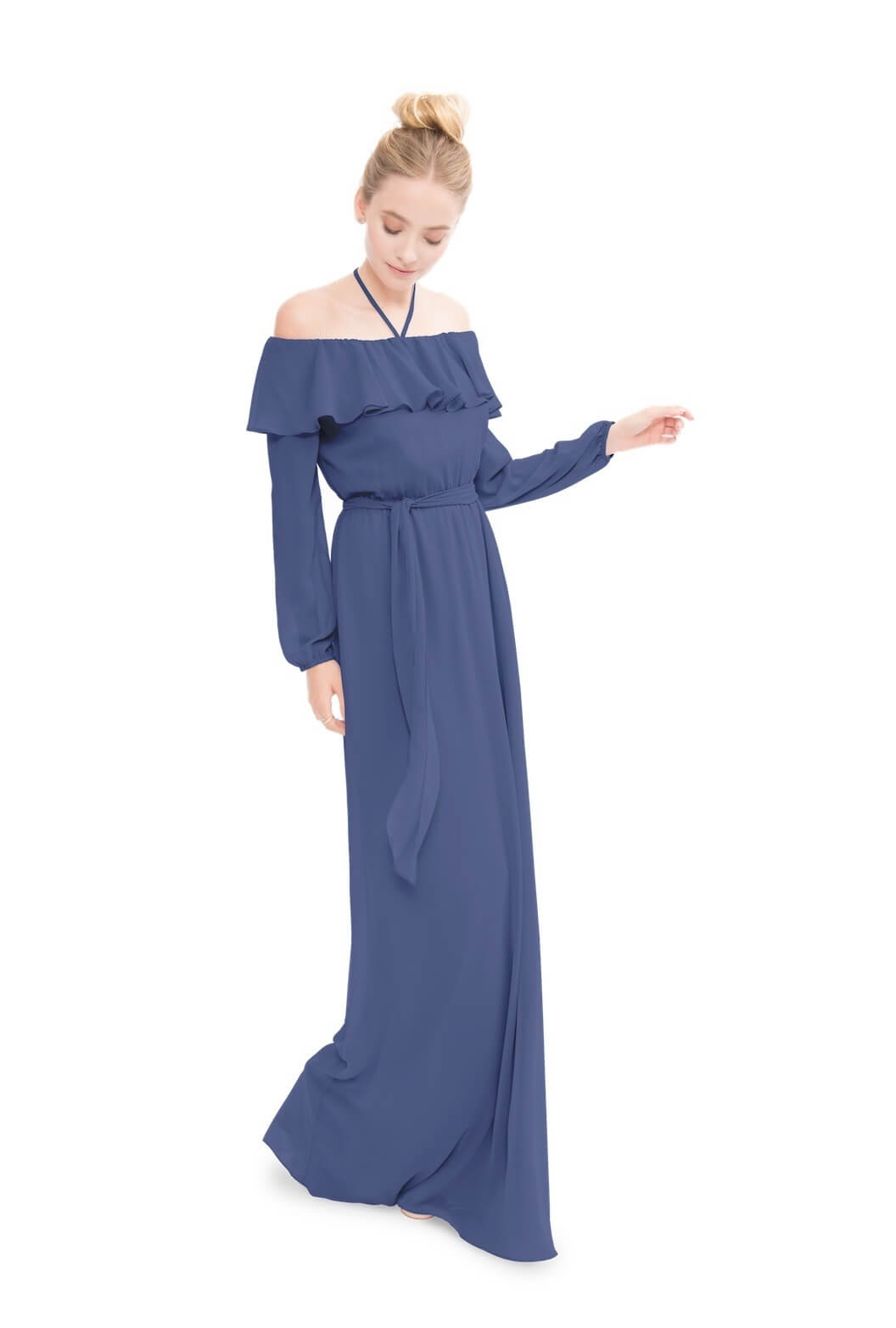 This Joanna August gown combines all of the sleeve trends to establish a bohemian, easy-going look. Image: Bella Bridesmaids