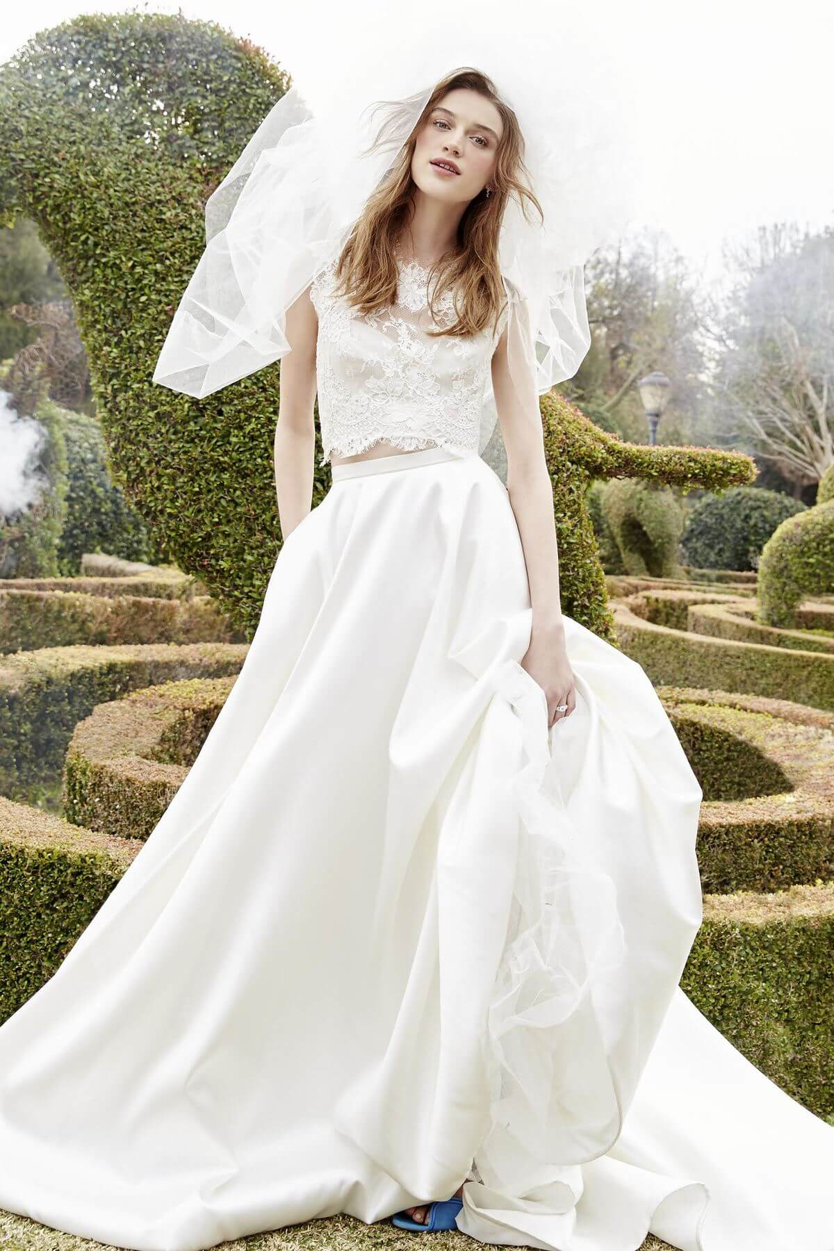 This two-piece 'Bliss' dress by Monique Lhuillier is fresh, fun and flirty. Perfect for the young bride! Image: Ivory & White