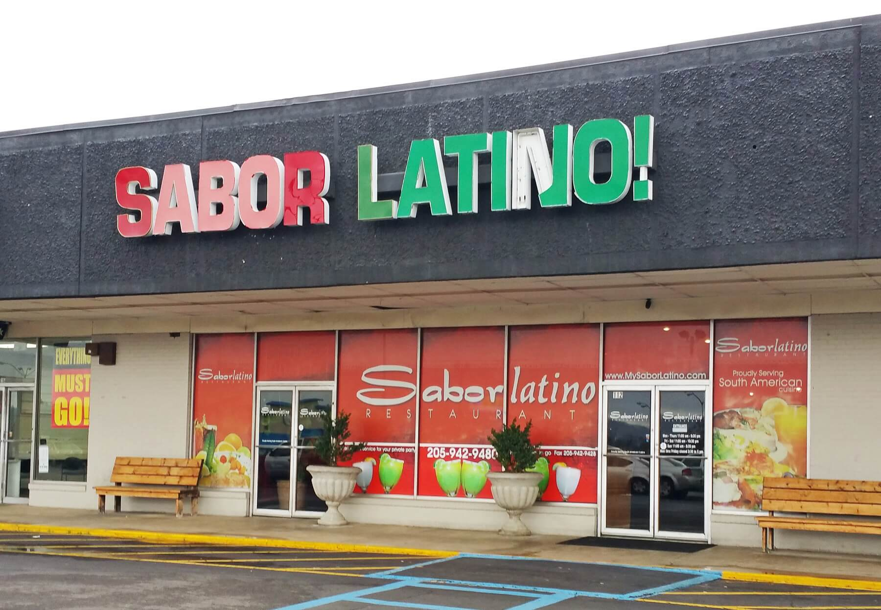 The unassuming façade of Sabor Latino