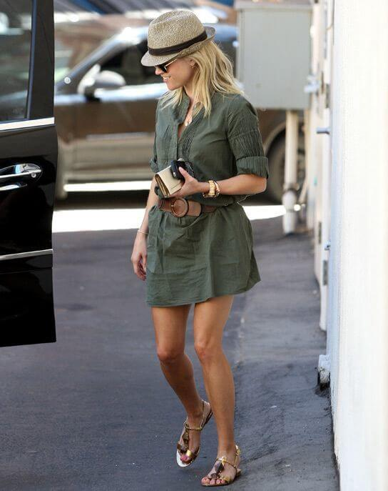 Reese Witherspoon rocks this belted military shirt dress. Image: Hollywood Life