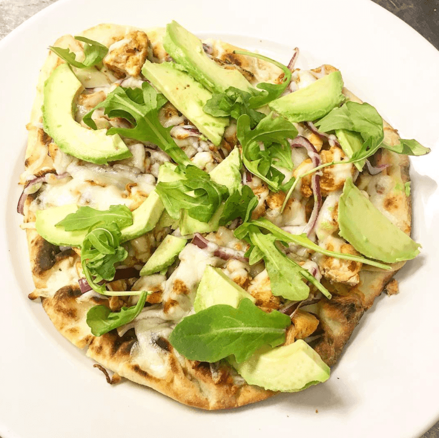 BBQ chicken & avocado pizza