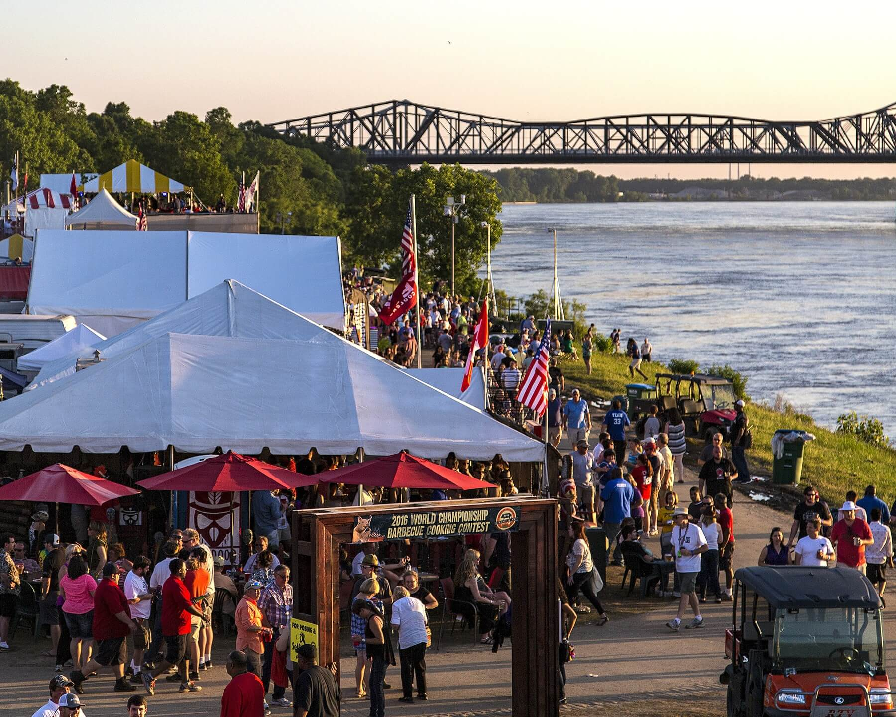 One of the best parts of the World Championship Barbecue Cooking Contest? Strolling along the Mississippi River in Memphis' Tom Lee Park and checking out the teams elaborate tents and displays.