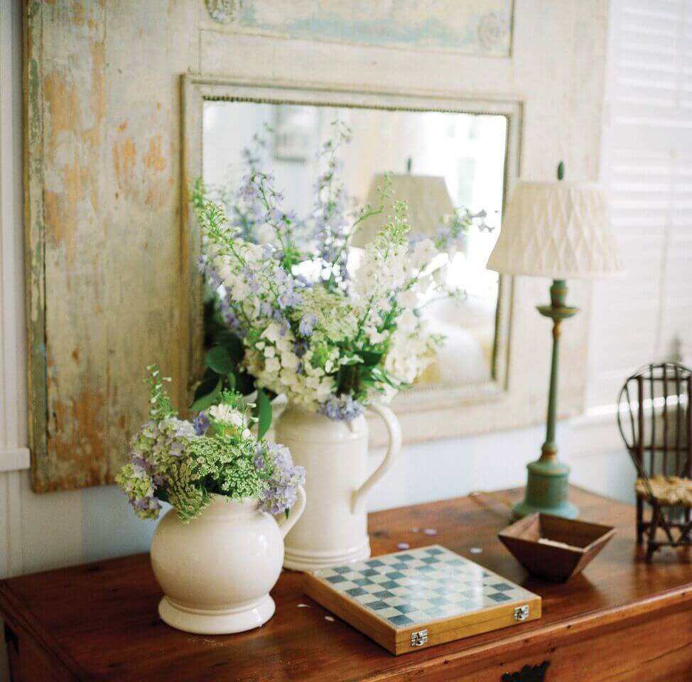 Hydrangeas are the flower of the season and French Blue and White options create a neutral, classic arrangements. Image: Bryan Johnson
