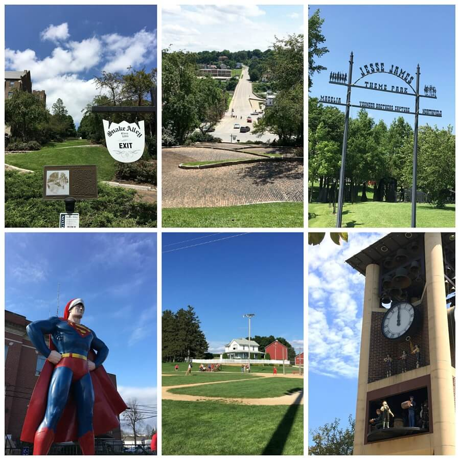 Clockwise from top left: Snake Alley in Burlington, IA; looking down Snake Alley; the Jesse James Theme Park in Good Thunder, MN; glockenspiel in New Ulm, MN; Field of Dreams in Dyersville, IA; and a gigantic Superman in Metropolis, IL