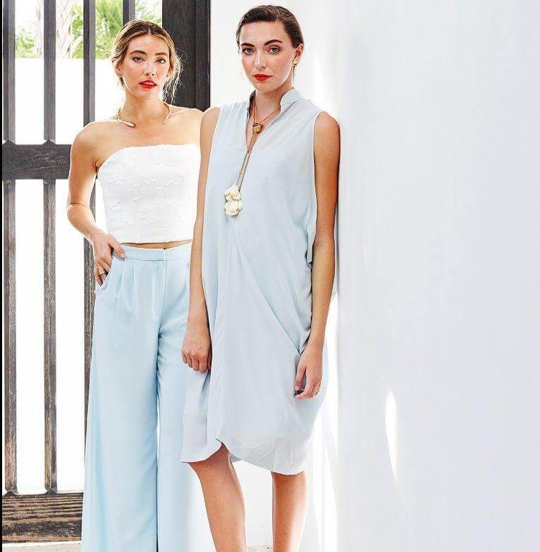 These wide-leg trousers and Maddie dress in soft and silky hydrangea crepe epitomize Abbey's spring/summer collection.