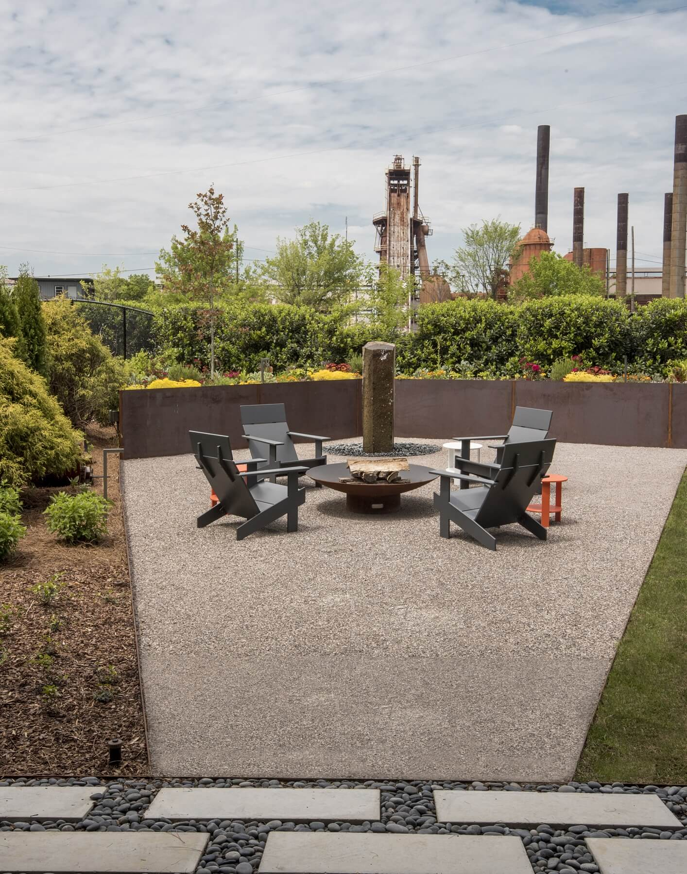 The second-floor balcony offers a fabulous view of Birmingham's iconic Sloss Furnaces and the Magic City's twinkling night skyline. Image: Liesa Cole