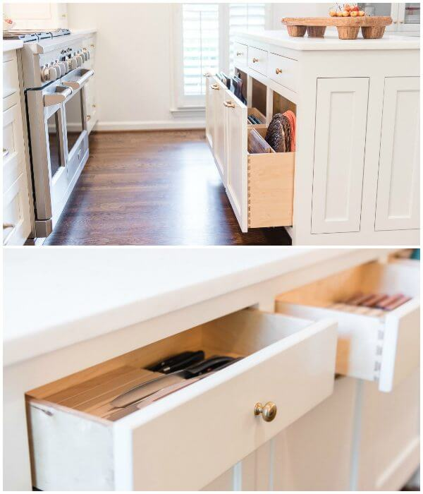 Ashley brought the idea for the knife-block drawers to custom-cabinet makers, Bud's Cabinets, and they parried with the clever idea of the vertical sheet pan and cutting board drawers in the island.