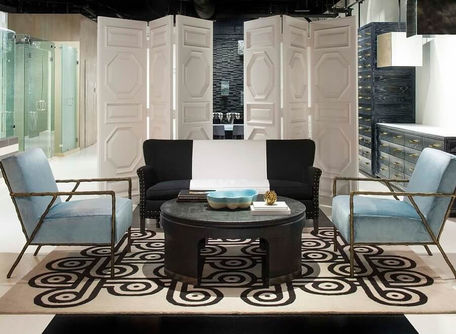 """Denise's commercial projects include this showroom for Fashion Glass and Mirror.""""Even boring builder showrooms should have style,"""" she says. http://www.piassick.com/"""