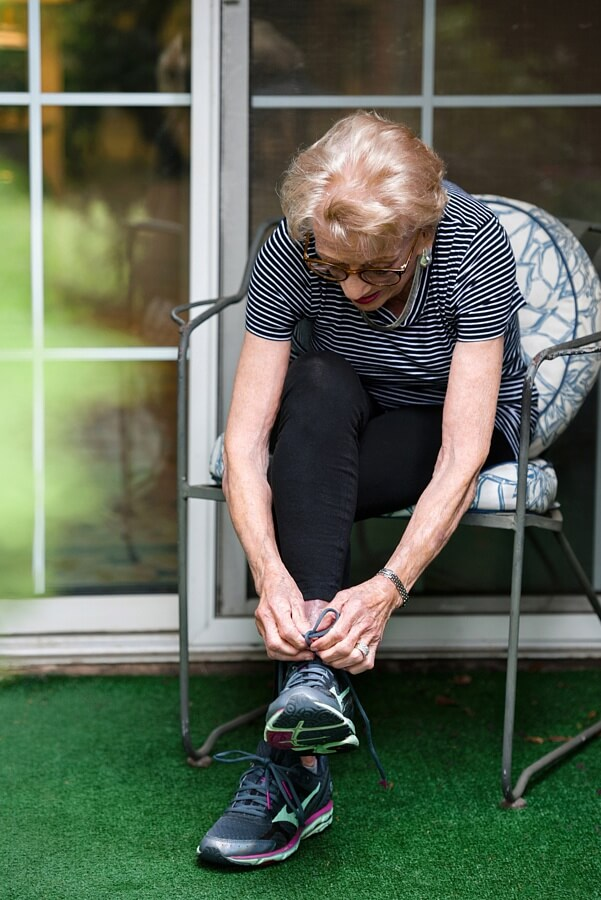 Harriette laces up and runs two miles every day around the lake in her retirement community.