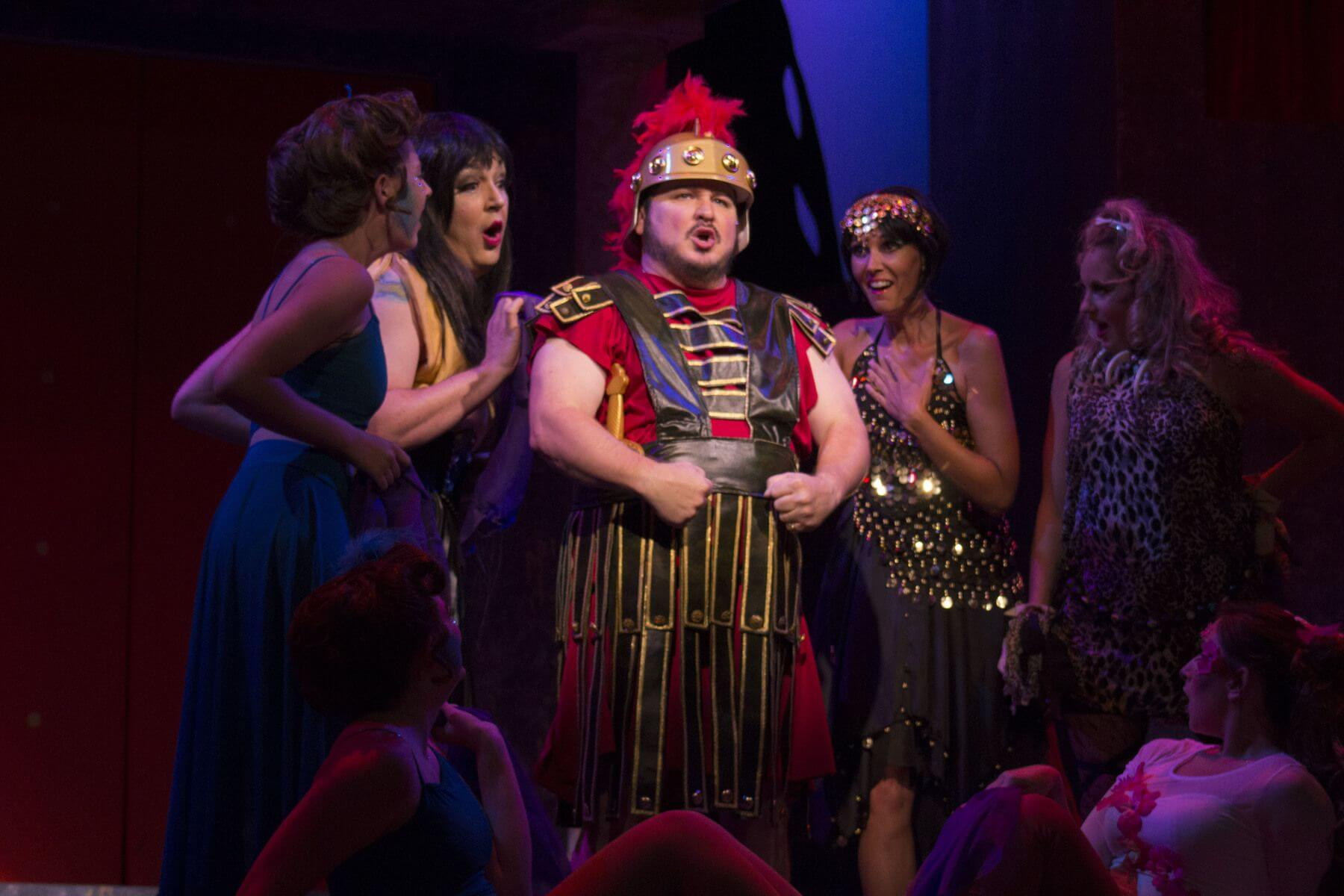 A soldier hams it up in A Funny Thing Happened on the Way to the Forum. Image: Harrell Performing Arts Theatre
