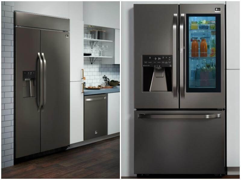 Nate chose the this state-of-the-art refrigerator with its black stainless steel finish for his own personal kitchen. When you tap the right door twice, it becomes transparent. Watch our video to see Nate demonstrate this cool technology!