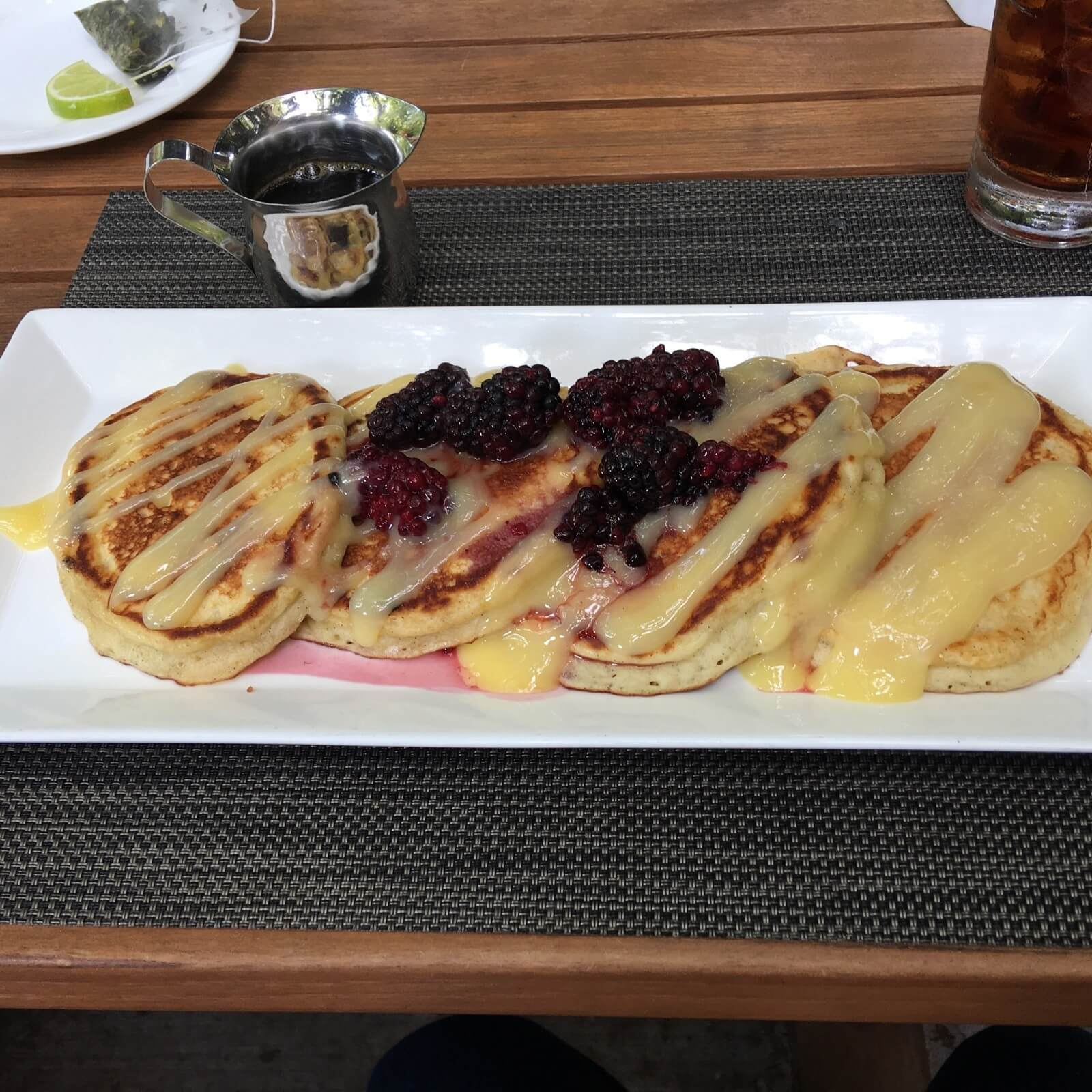 The buttermilk pancakes with blueberry compote, lemon curd and maple syrup are a breakfast must!